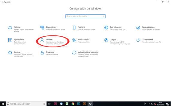 Captura de cómo acceder a Cuentas en nuestro PC